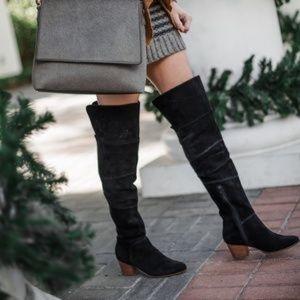 Sole Society Melbourne Patchwork OTK Black Boots